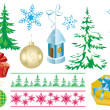 Vector set of christmas decorations — Stock Vector