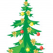 Vector christmas tree with decorations — Vector de stock