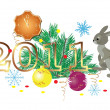Stock Vector: Vector illustration of 2011 and decorations and rabbit