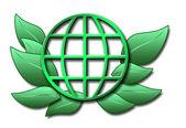 Illustratie van groene globus en bladeren — Stockfoto