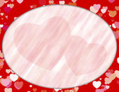 Red oval frame with hearts — Stock Photo