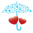 Vector illustration of red hearts and umbrella — Vector de stock