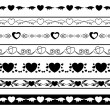 Set of vector black borders for romantic design — Stock Vector