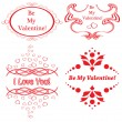 Set of vector red frames for romantic design — Stock Vector