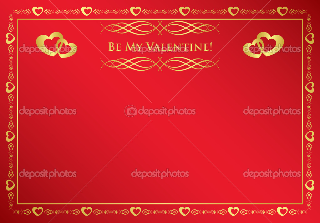 Vector red card with golden frame — Stock Vector #4792078