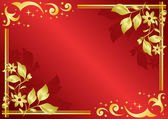 Vector red card with golden decorations — Stock Vector