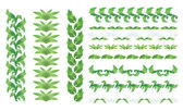 Set of vector green floral borders — Stock Vector