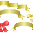 Set of vector ribbons and bows - Stock Vector