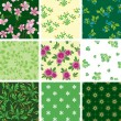 Set of various vector seamless floral pattern — Stock Vector #5017811