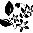 Vector black  element  for design with flora — Stock Vector
