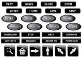 Set of various vector black buttons — Stock Vector