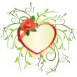 Vector heart with rose and green plants — Stock Vector