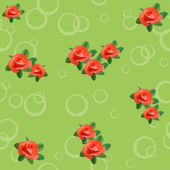 Vector light green seamless texture with roses and circles — Stock Vector