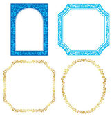 Set of vector blue and golden frames with plants — Stock Vector