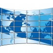 Vector blue world map on the blue screens - Stock Vector