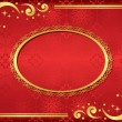 Vector red card with golden frame — Stock Vector