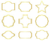 Set of vector golden frames on white — Stock Vector