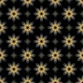 Vector black seamless texture with golden elements — Stock Vector
