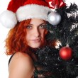 Woman with christmas tree — Foto de Stock