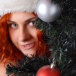 Woman with christmas tree — Stock Photo #4123732