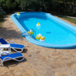 Swimming Pool, chaise-longue, tile - Stock Photo