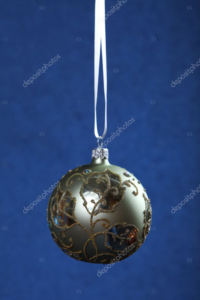 Christmas decoration color balls at blue background  Stock Photo #4446554
