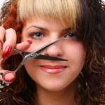 Woman with scissors — Stock Photo #4533345
