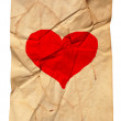 Paper with fracture and heart — Stockfoto