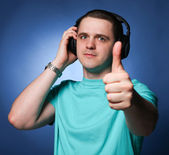 Man with headphones — Stockfoto