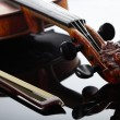 Violin and bow on dark background - Foto Stock
