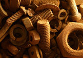 Rusty nuts and bolts — Stock Photo