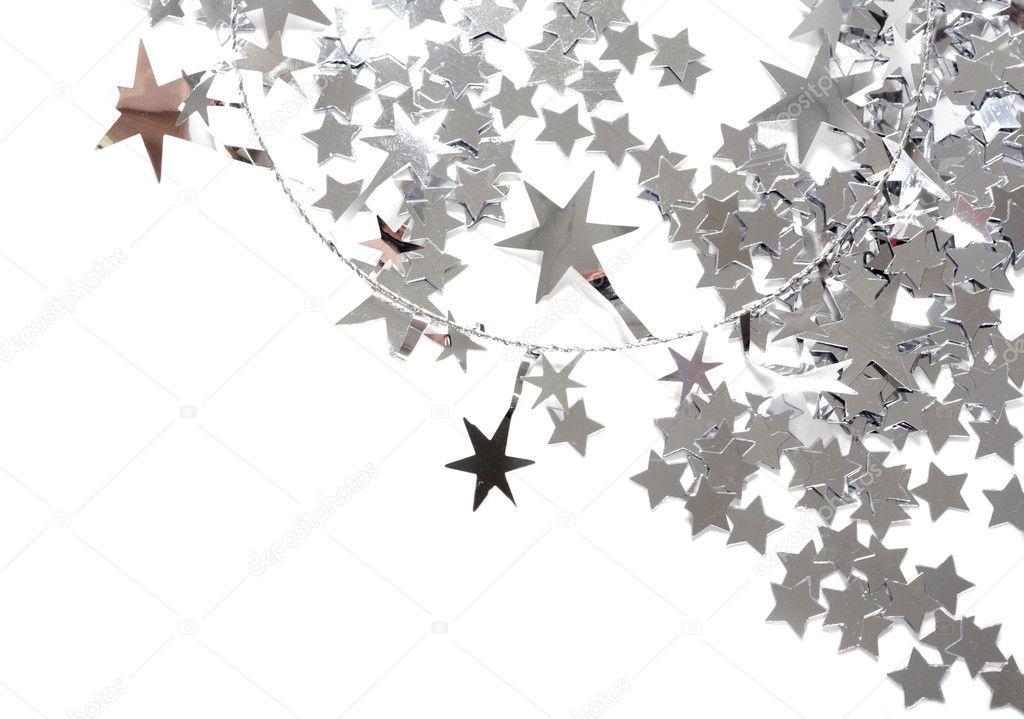 Silver Stars On White Background