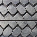 textur des alten abgenutzten schwarzes autoreifen — Stockfoto