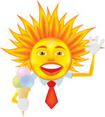 Sun with ice cream — Stock Vector
