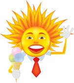 Sun with ice cream — Stock Vector
