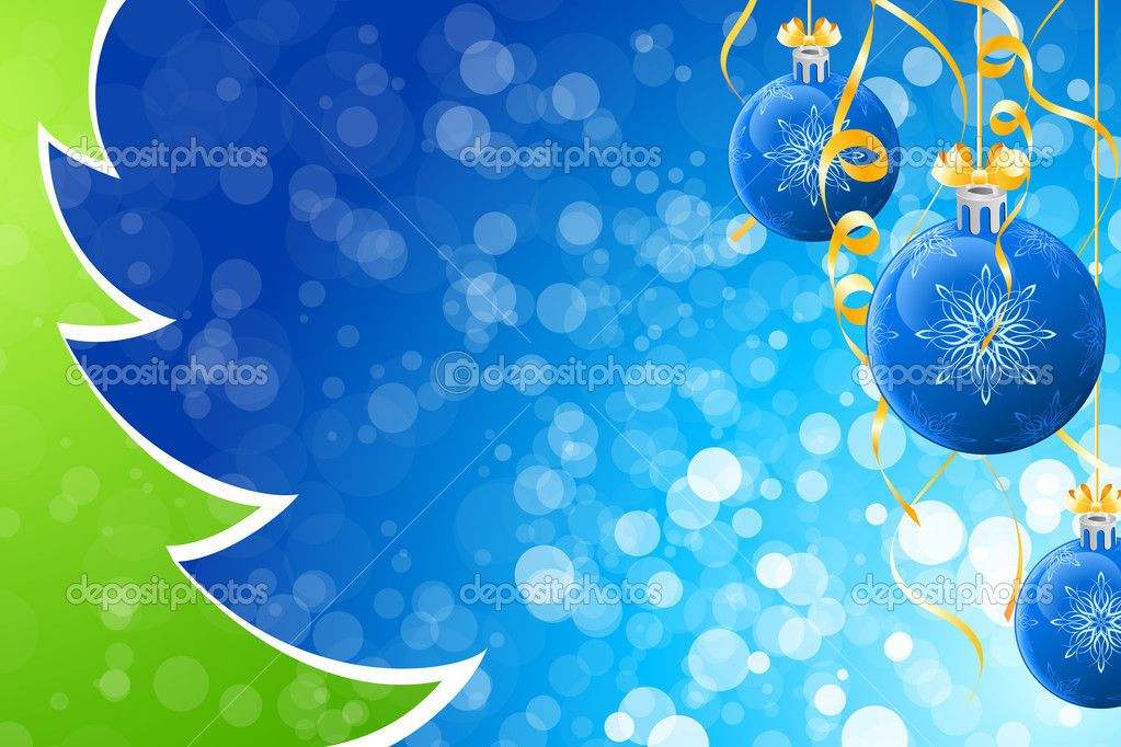 Abstract Winter and Christmas background with balls and Christmas tree — Stock Vector #4152336