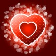 Red valentines heart with sparkles — Stock Vector