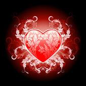 Corazón san valentín rojo con flores — Vector de stock