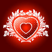 Red valentines heart with floral pattern — Stock Vector
