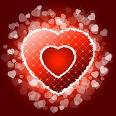 Corazón san valentín rojo con destellos — Vector de stock