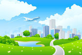 Green City Landscape — Stock Vector