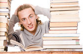 The young student with the books — Stock Photo