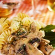Portabello mushrooms in cream sauce — Stock Photo