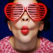Gril with shutter shades — Stock Photo #4023673