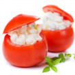 Stuffed tomato isolated on white — Stock Photo
