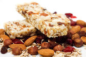 Granola bar on white background — Stockfoto
