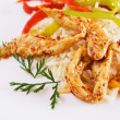 Spicy asian chicken with rice — Stock Photo