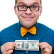 Happy man holding hundred dollars — Foto Stock