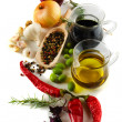Olive oil and balsamic vinegar with mediterranean spices — Stock Photo