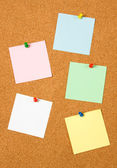 Blank notes on cork board — Stock Photo